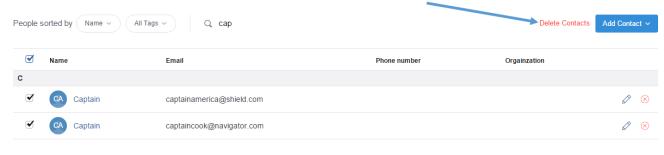 Bulk delete contacts