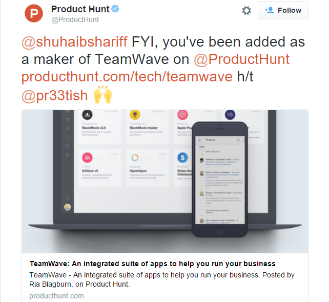 Product hunt tweet