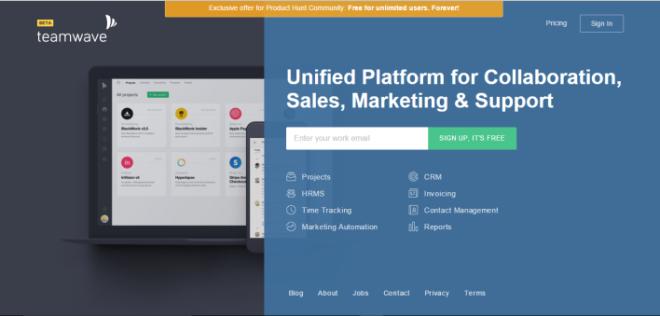 TeamWave landing page for Product Hunt