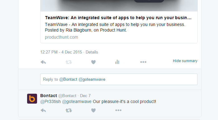 Twitter engagement product hunt