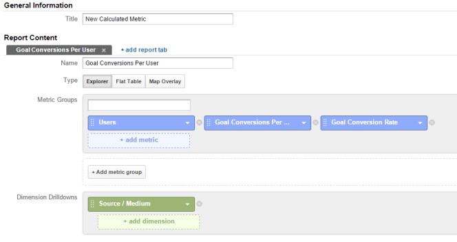 Custom Reports in Google Analytics for Calculated Metrics