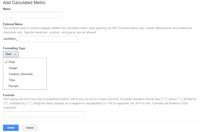 Google Analytics Calculated Metrics