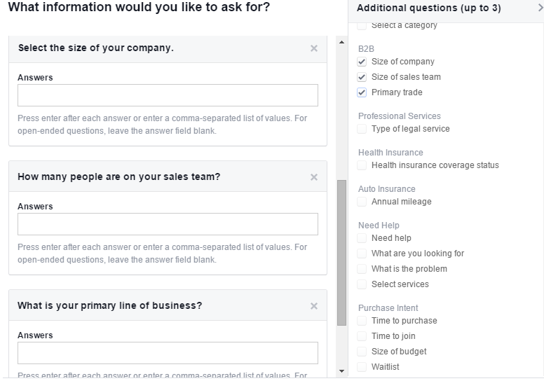 3 custom questions in facebook lead ads