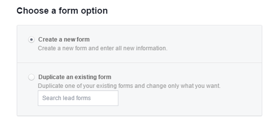 Choose lead form new or existing