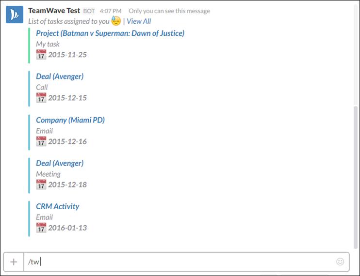 TeamWave Slack Task List