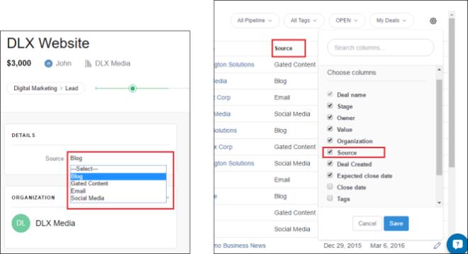 Custom fields in list view