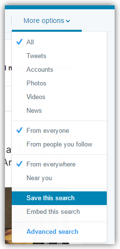 Twitter Saved Search