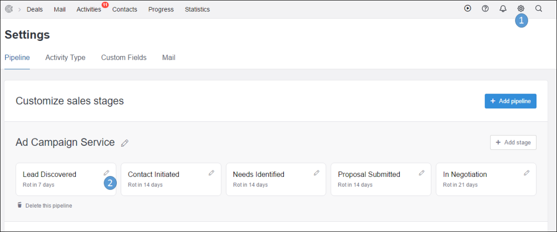 CRM settings in TeamWave